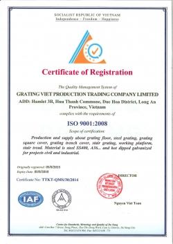 CHỨNG NHẬN ISO 9001:2008 CỦA GRATING VIỆT