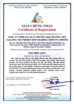 GIẤY CHỨNG NHẬN ISO 9001:2015 CỦA GRATING VIỆT